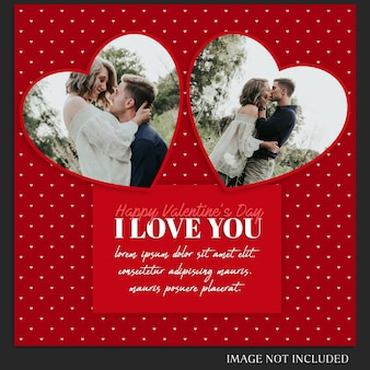 Creative modern romantic valentine day instagram post template and photo mockup