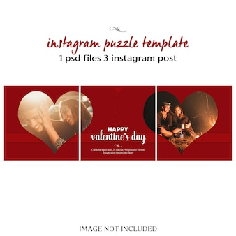 Creative modern romantic valentine day instagram puzzle or collage post template and photo mockup