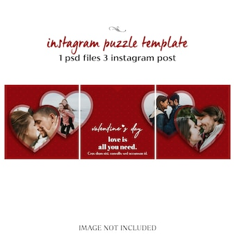 Creative modern romantic valentine day instagram puzzle post template and photo mockup