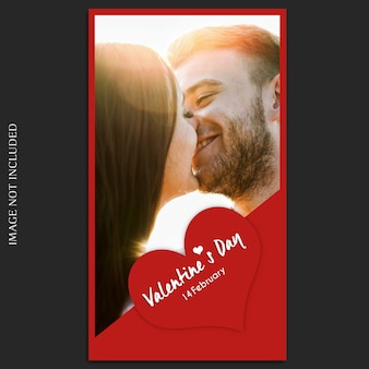Creative modern romantic valentine day instagram story template and photo mockup
