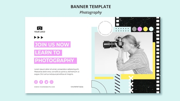 Creative photography banner template with photo