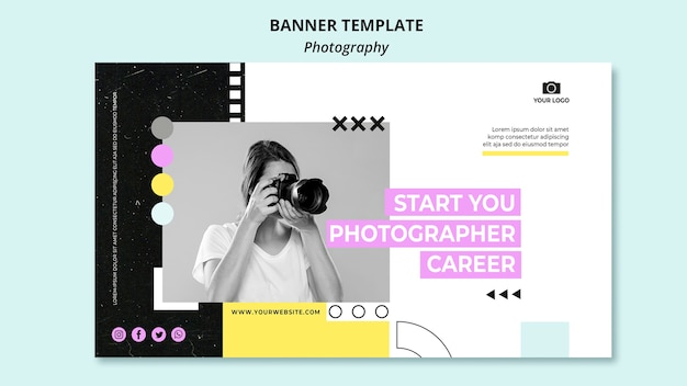 Creative photography horizontal banner template with photo