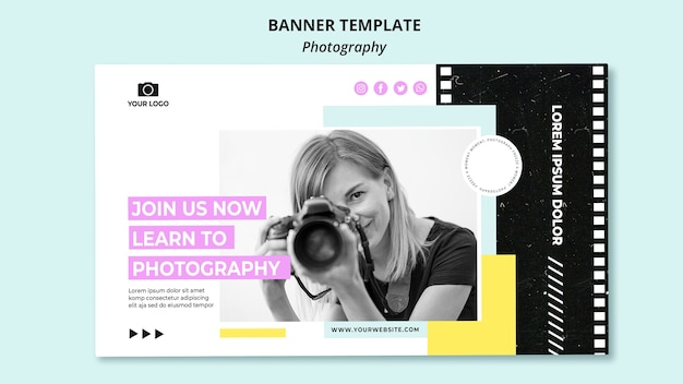 Creative photography horizontal banner template