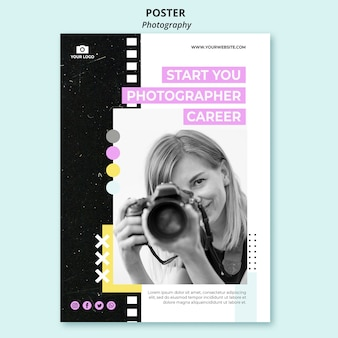 Creative photography poster template with photo