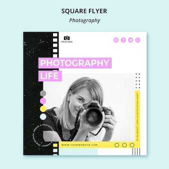 Creative photography square flyer template