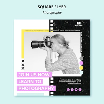 Creative photography square flyer with photo
