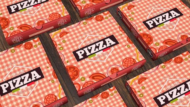 Creative pizza boxes mockup