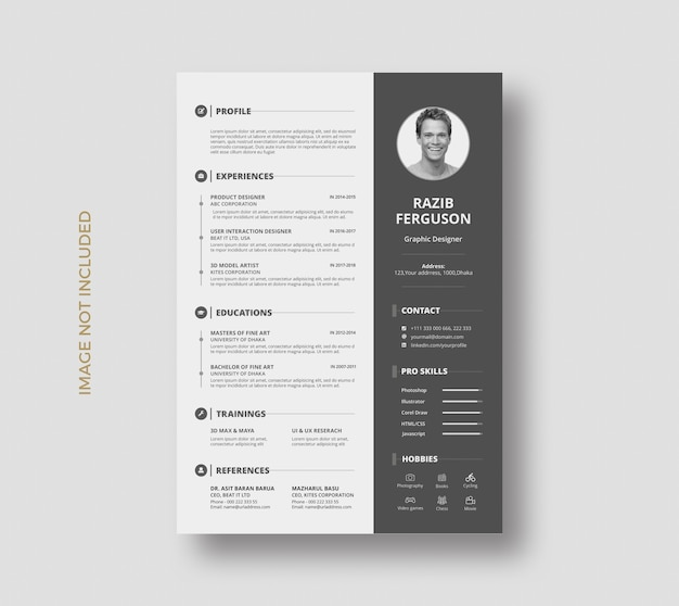 クリエイティブレジュメcv履歴書テンプレートデザイン