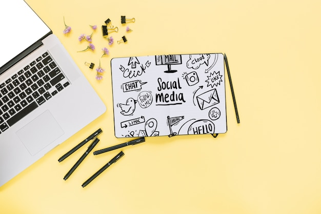 Creative social media and internet mockup with laptop keyboard