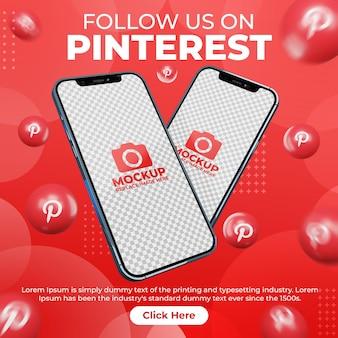 디지털 마케팅 프로모션을 위한 휴대폰 모형이 있는 창의적인 소셜 미디어 pinterest 게시물