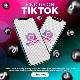 디지털 마케팅 프로모션을 위한 휴대폰 모형이 있는 창의적인 소셜 미디어 tiktok 게시물
