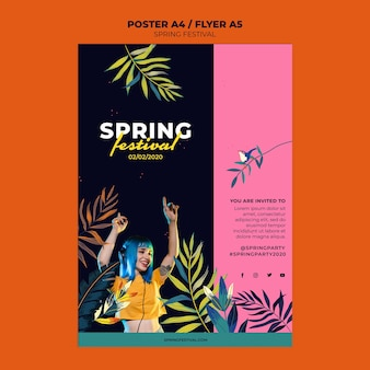 Creative spring festival poster template