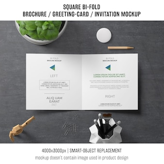 Creative square bi-fold brochure or greeting card mockup