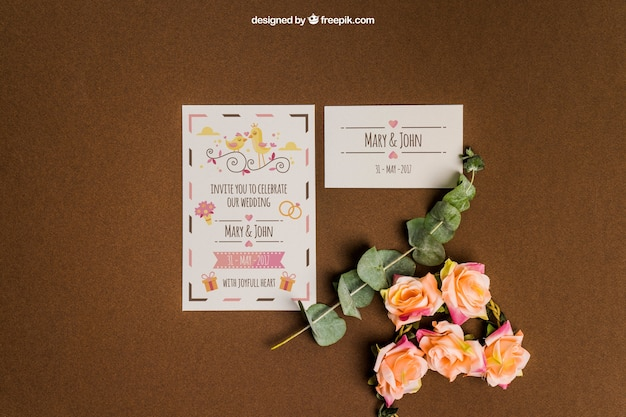 Creative stationery wedding mockup
