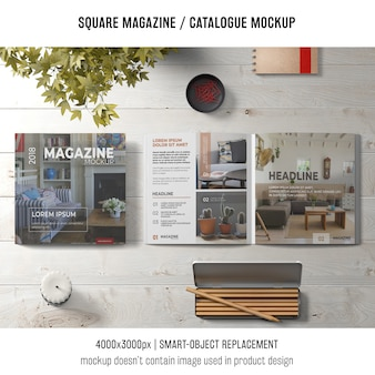 Creative still life of square magazine or catalogue mockup