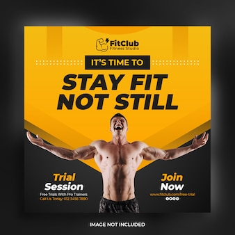 Creative strong fitness and gym square banner flyer template