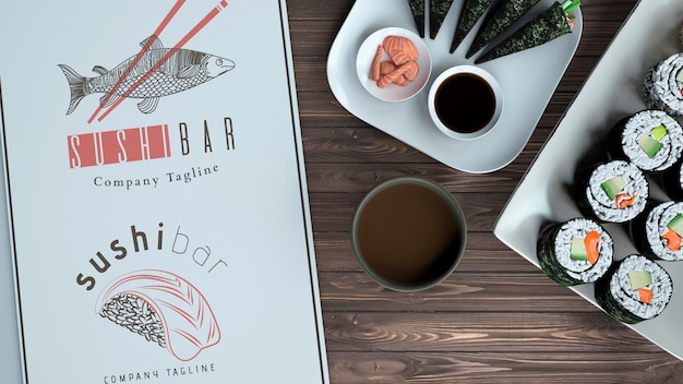 Creative sushi bar menu mockup