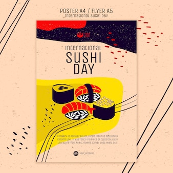 Creative sushi flyer template Free Psd
