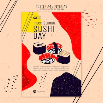 Creative sushi poster template Free Psd