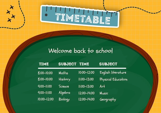 Creative timetable made for kids template