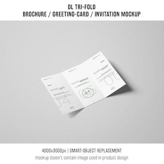 Creative trifold brochure or invitation mockup
