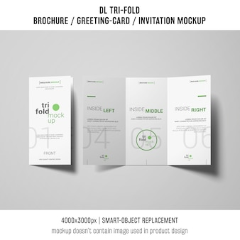Creative trifold brochure or invitation mockup