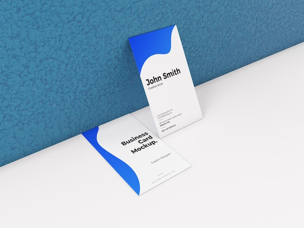Creative vertical business card mockup