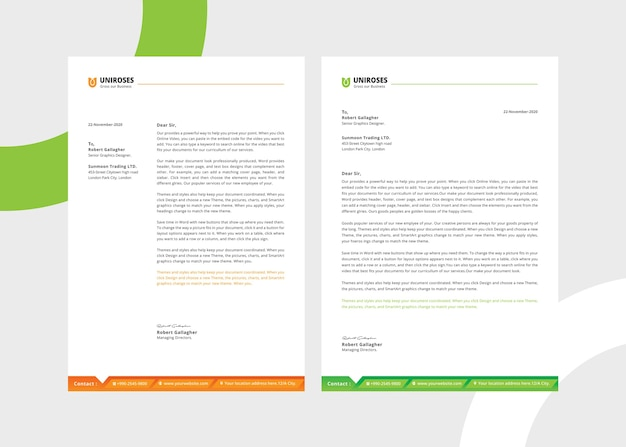 Creative white letterhead template