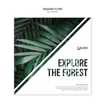 Creative wild nature square flyer template