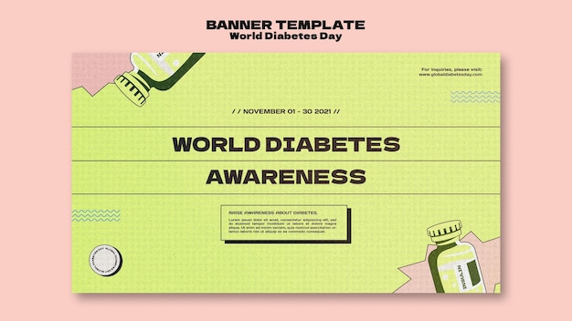 クリエイティブな世界糖尿病デーの水平バナーテンプレート