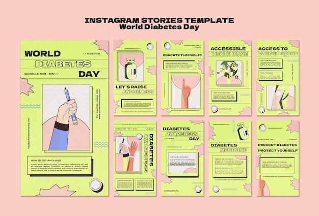 Modelli di storie creative per la giornata mondiale del diabete