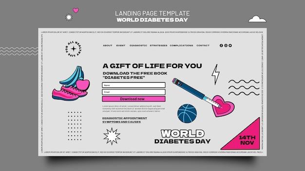 クリエイティブな世界糖尿病デーのランディングページテンプレート