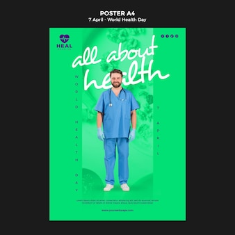 Creative world health day flyer template with photo