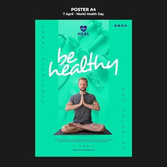 Шаблон плаката ко всемирному дню здоровья с фото