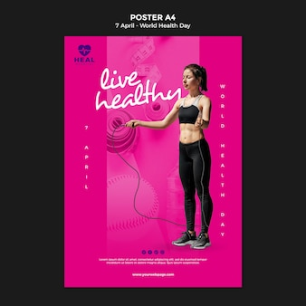 Creative world health day poster template with photo