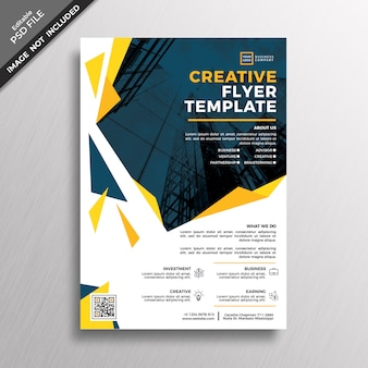 Creative yellow geometry abstract flyer template