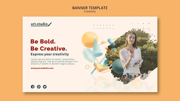 Creativity banner template with photo