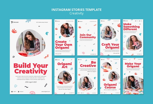 Storie di instagram di concetto di creatività
