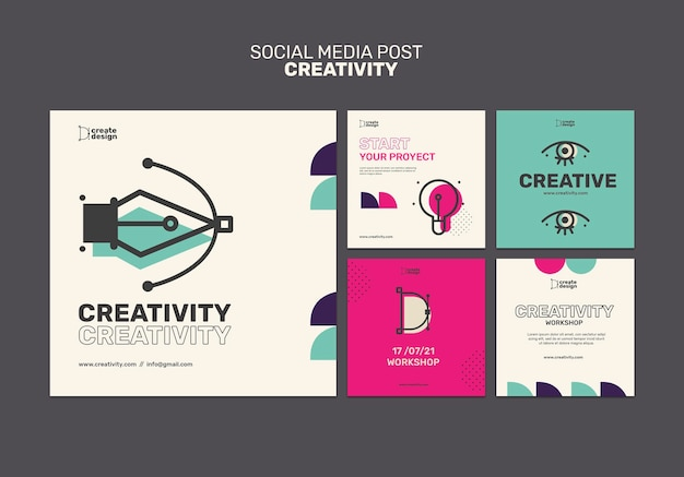 Creativity concept social media post