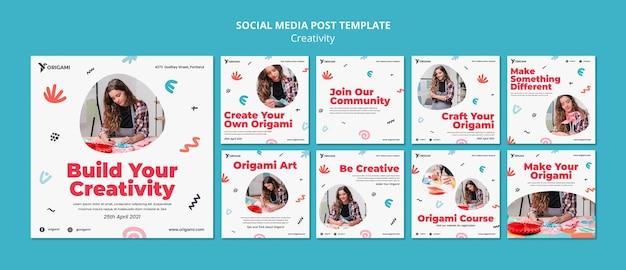 Post di social media del concetto di creatività