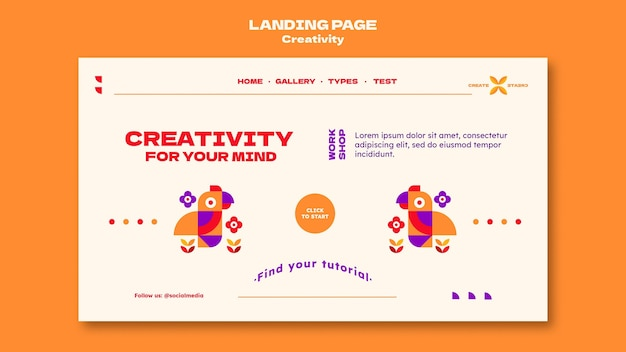 Creativity landing page template