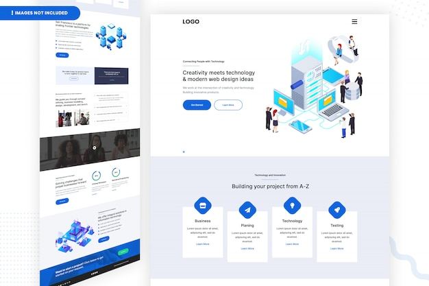 창의력과 기술 및 현대 웹 디자인 아이디어의 만남 템플릿