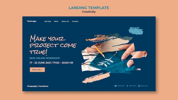 Creativity workshop landing page