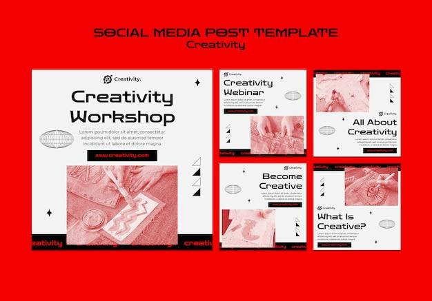 창의력 워크숍 소셜 미디어 게시물