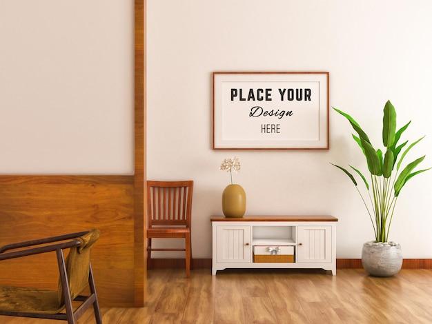 Credenza с гостиной середины века и рамкой для макета на стене