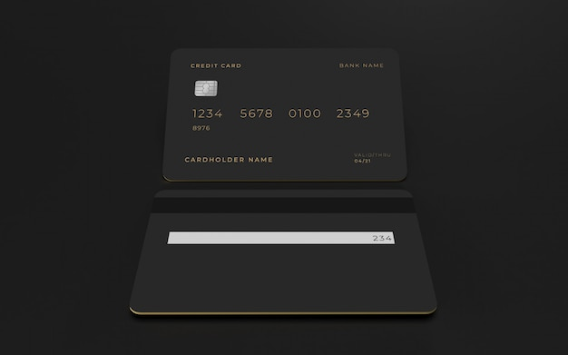 Credit card 3d design concept mockup template