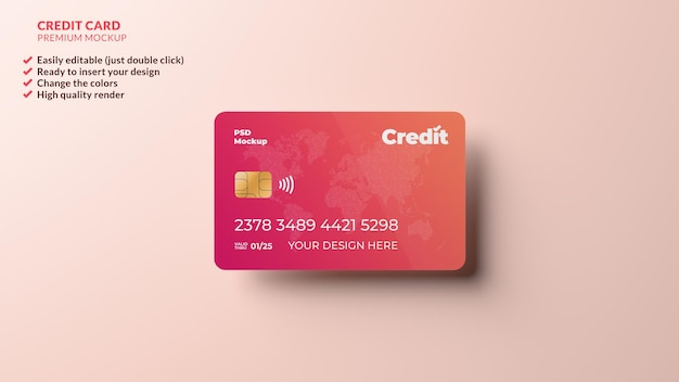 Credit card design mockup floating in realistic 3d rendering