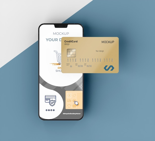 Credit card mock up with mobile