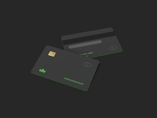 Credit card mockup design in 3d rendering