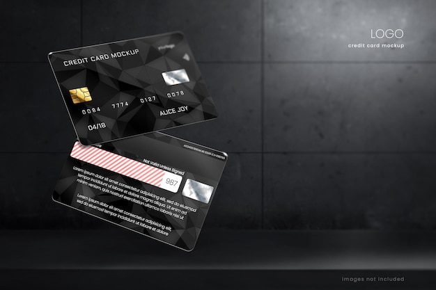 Credit card mockup template in dark room